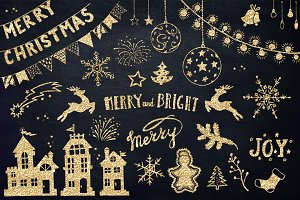 Sale -Gold Christmas Design Elements