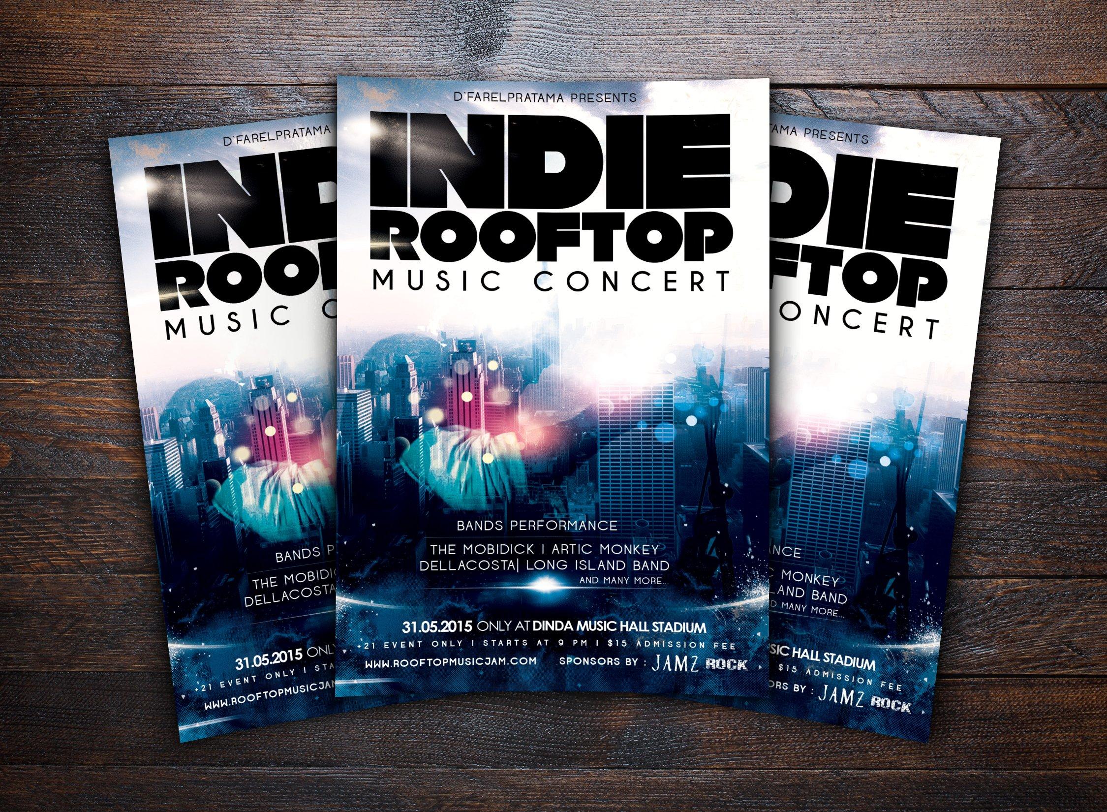 rooftop music concert flyer flyer templates creative market