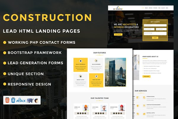 Construction Landing Page Template