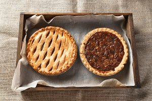 Apple and Pecan Pie in Wood Box