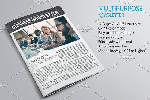 Business Newsletter Template Magazine Templates Creative Market