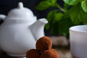 chocolate truffle, dark background