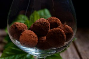 chocolate truffle, dark background