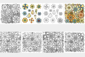 Flower design elements and patterns
