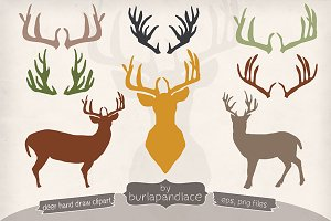Hand draw deer/Antlers clipart
