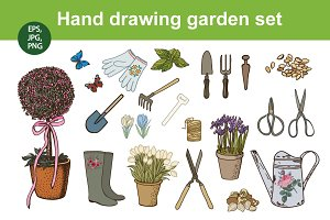Hand drawing garden set
