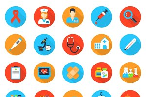 Medicine and health care flat icons