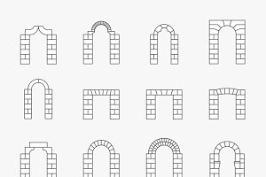 Stone architectural isometric arches