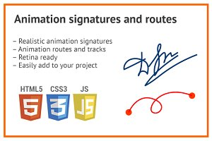 Animation svg icon, signature, route