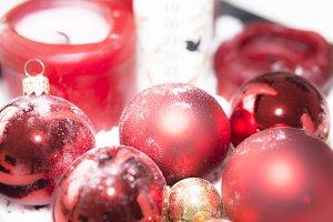 Christmas Bulbs and Candle
