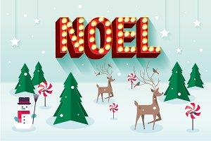 noel a christmas scene vector