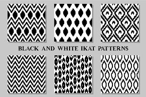 Set of black and white ikat patterns