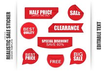Set Of Red Sale Paper Stickers