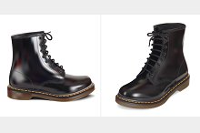black leather boot. Vector