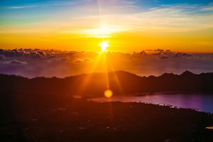 Dawn on the Batur volcano