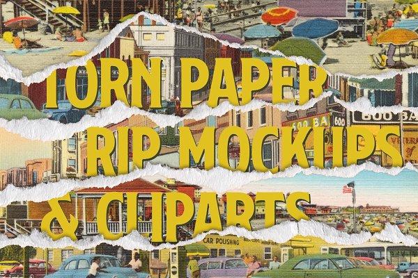 Torn Paper Cliparts & Mockups