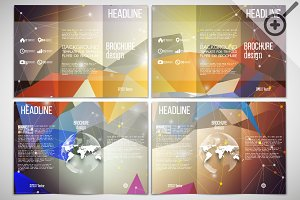 Set of abstract tri-fold brochures