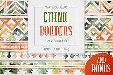 Watercolor Tribal Borders & Brushes