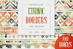 Watercolor Tribal Borders & Brushes