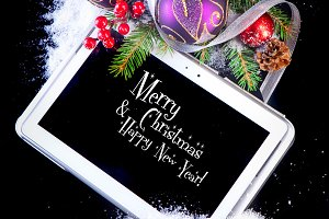 Tablet PC with Christmas decoration