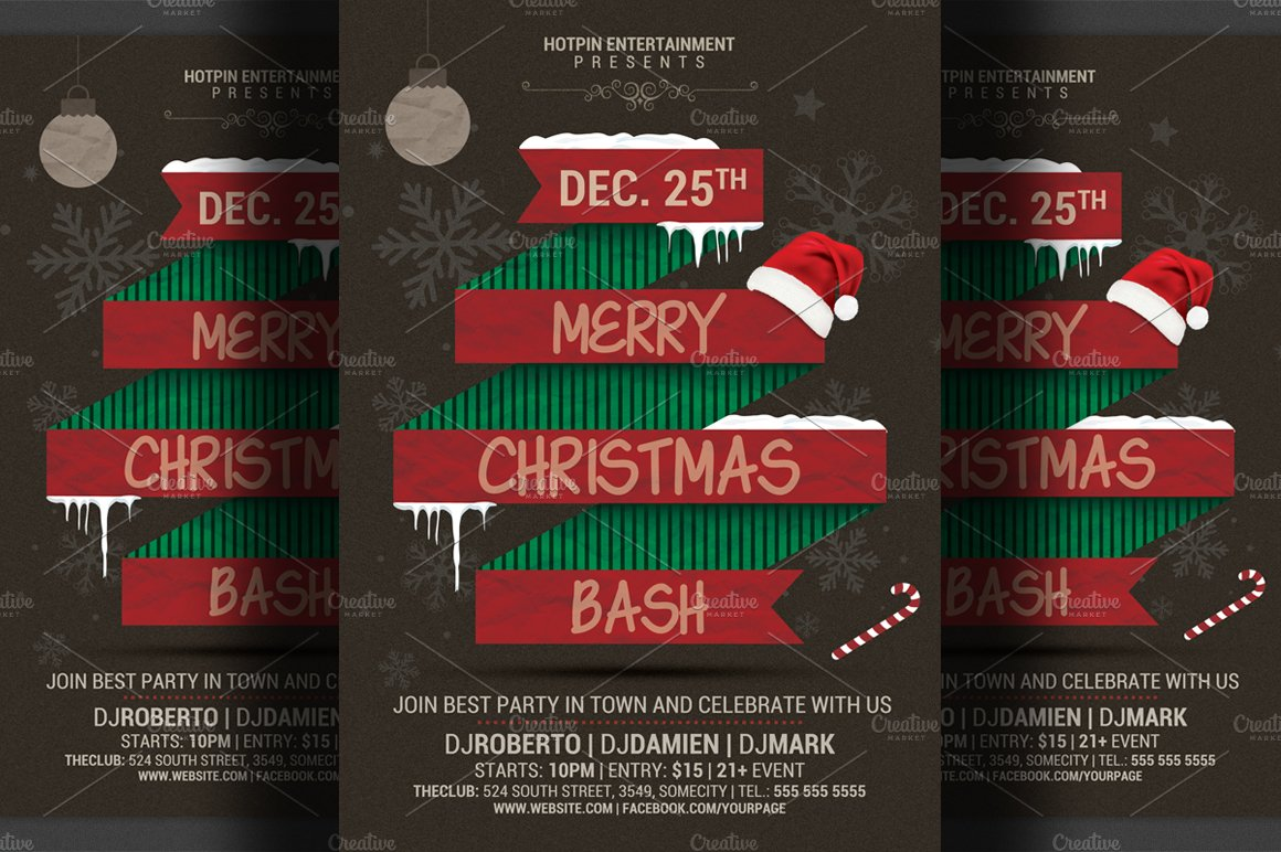christmas bash party flyer template flyer templates on creative christmas bash party flyer template flyer templates on creative market