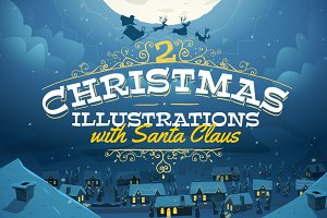 2 Christmas Illustrations with Santa