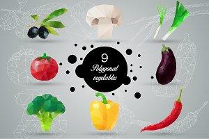 9 vector polygonal vegetables