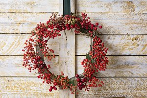 Christmas wreath of evergreen and na