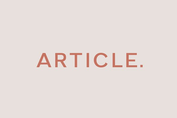 Article - A Geometric Typeface