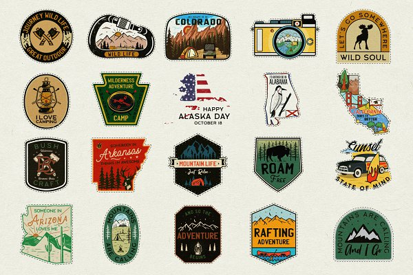 20 Camp Adventure Badges Patches SVG