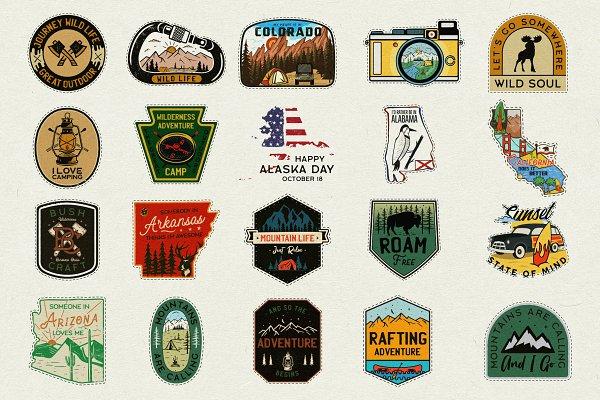 20 Camp Adventure Badges Patches SVG