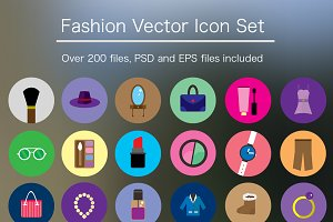 Flat Fashion Icon Pack- PSD & Vector