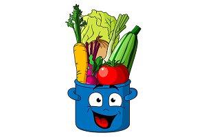 Healthy fresh vegetables in blue pot