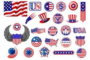 American patriotic badges, symbols a