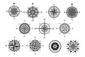 Nautical wind rose and compass icons