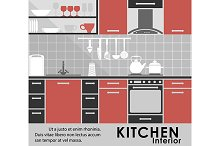 Modern kitchen interior in flat styl