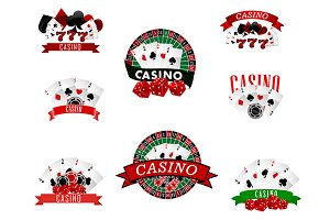 Casino and gambling badges, icons or
