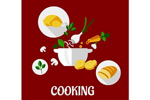 Cooking flat design
