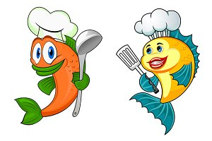 Cartoon chef fish characters