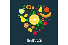 Fruits harvest flat design