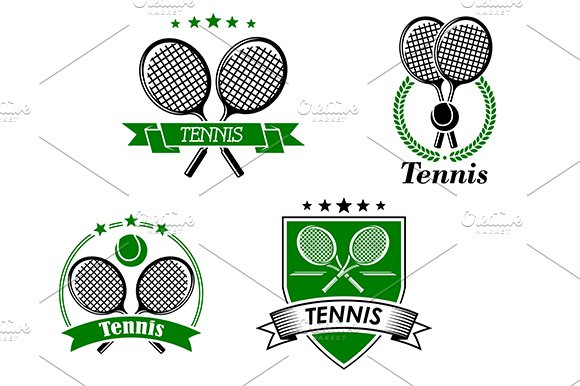 Four tennis badges and emblems