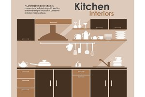 Kitchen interior in flat infographic