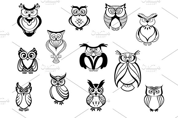 Cute owls and owlets in Graphics