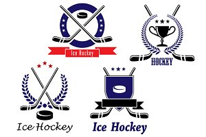 Set of ice hockey emblems