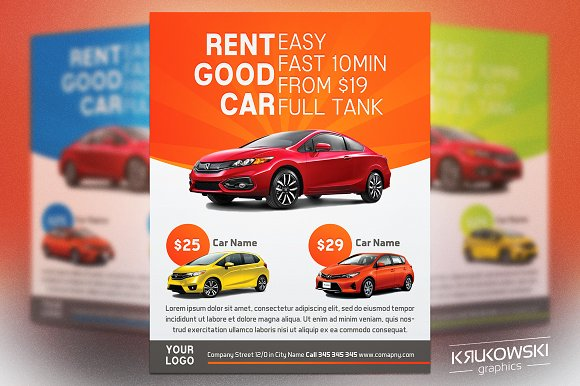 Car Rental Flyer Template Flyer Templates Creative Market