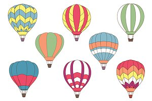 Flying colorful hot air balloon icon