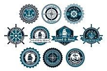 Circle marine heraldic labels