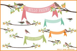 Pastel Birds on Branches w/ Banners
