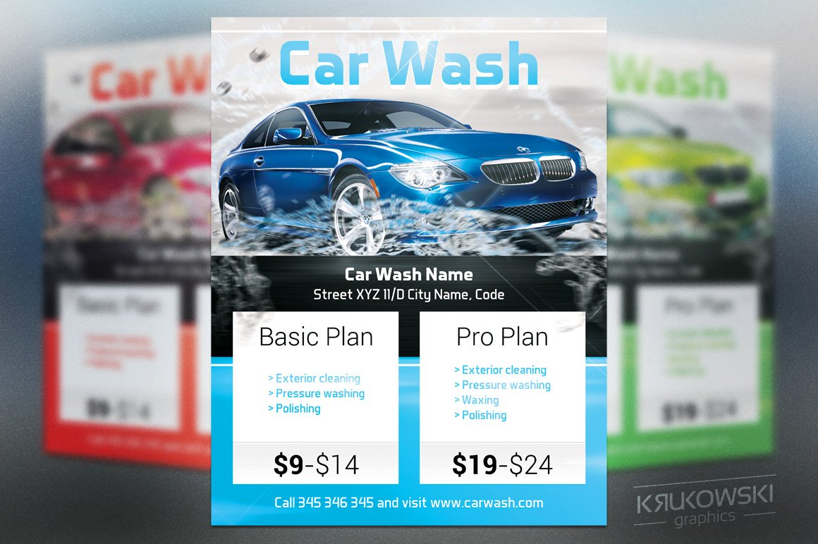car wash flyer template flyer templates on creative market