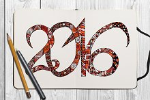 Zentangle hand drawn numbers 2016